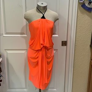 Tbags Los Angeles Neon Coral Draped Jersey Dress M